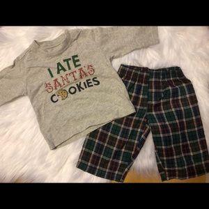 OshKosh Santa Christmas Pant Set Outfit 6 mos